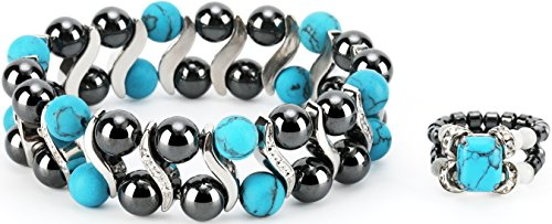 Elegant Womens Hematite Magnetic Therapy & Healing Stone Bracelet & Ring Set Pain Relief for Arthritis and Carpal Tunnel ()