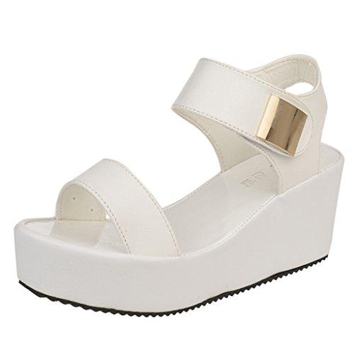 Sandals Toe Flatform Women's Peep White Velcro Binying SKXfgTPyK