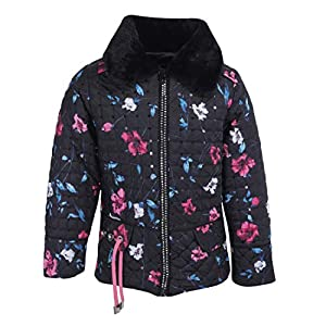 Cutecumber Girls Quilted Polyester Sequined & Floral Printed Black Winter Jacket.4467J-BLACK
