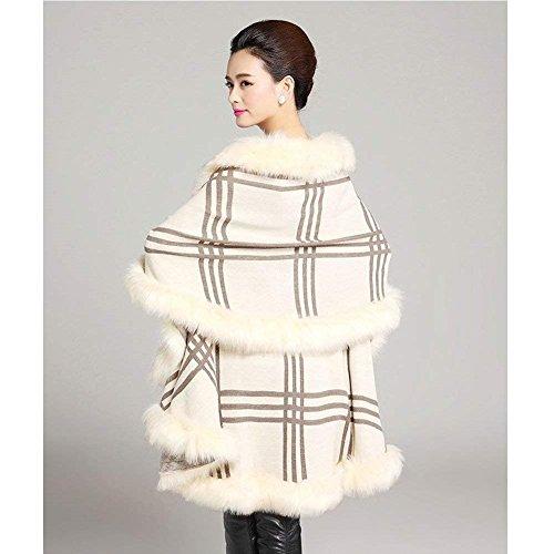 Cape Veste Manteau Fourrure Hiver breal Femme Outerwear Elgante Fourrure BIRAN Coat Irrgulier Mode Synthtique en Hiver Winered Vintage Asymtrique q54gxt