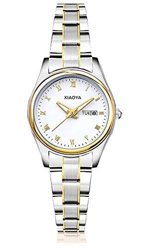 Dyshuai Women's Quartz Calendar Stainless Steel Wrist Watch Easy Reader Roman Numerals Watch (Gold White)