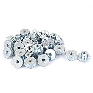 Uxcell a16050300ux0511 Knurled Thumb Nuts M3 Carbon steel Knurled Thumb Nuts 20 Pcs for 3D Printer Heated Bed by Uxcell