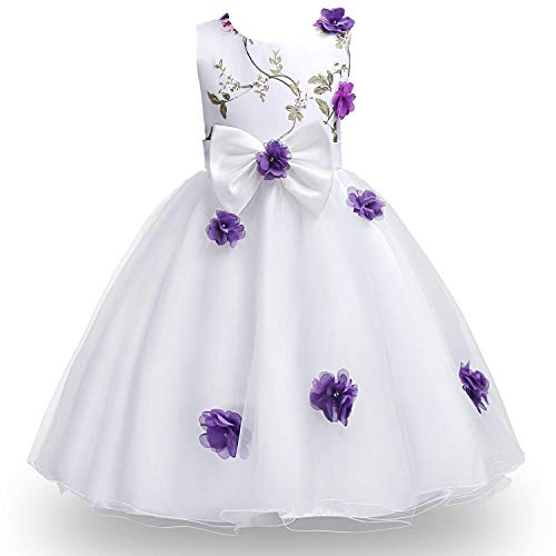 MOREMOO Little Girl Elegant Flower Embroidery Birthday Party Dress(Purple 7-8 Years)