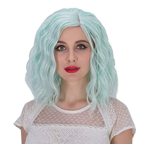 (Alacos Fashion 35cm Short Curly Full Head Wig Heat Resistant Daily Dress Carnival Party Masquerade Anime Cosplay Wig +Wig Cap (Neon)
