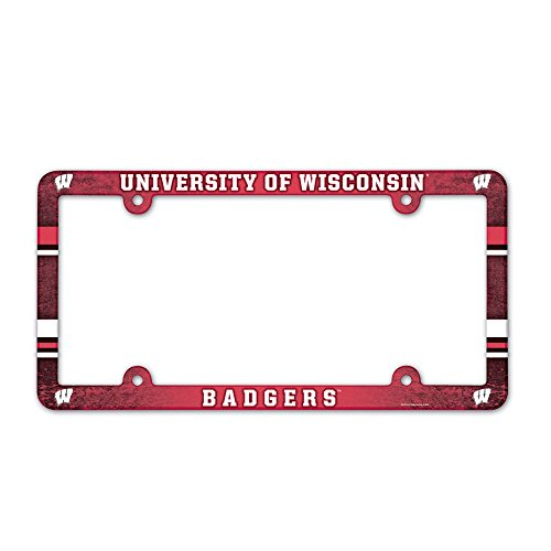 NCAA Wisconsin Badgers Full Color License Plate Frame, Team Color, One Size (License Plate Frame Badgers)