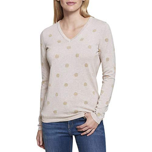 Cotton Metallic Sweater - Tommy Hilfiger Womens Knit Metallic Pullover Sweater Beige M