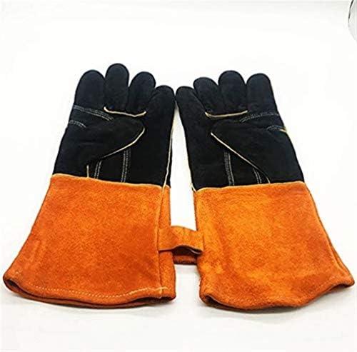 労働保護作業用手袋 プロテクトレザーアンチやけど手袋、BBQアンチやけど手袋、グリルアンチやけど手袋、暖炉アンチやけど手袋、裏地コットン14インチ熱で耐熱アンチやけど手袋金庫、15インチ (Color : Brown, Size : L)