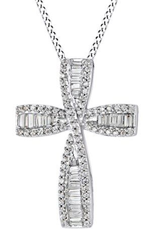 Baguette Round Necklace (Baguette & Round Cut White Diamond Cross Pendant Necklace In 10K Solid White Gold (0.5 Ct))