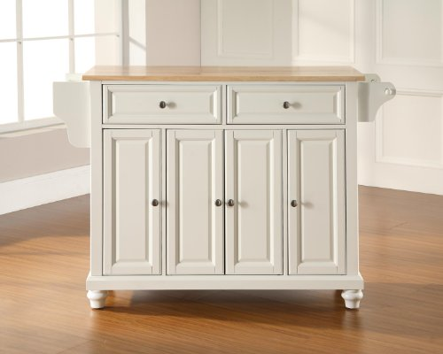 Crosley Furniture Cambridge Kitchen Island with Natural Wood Top - White by Crosley Furniture (Image #3)