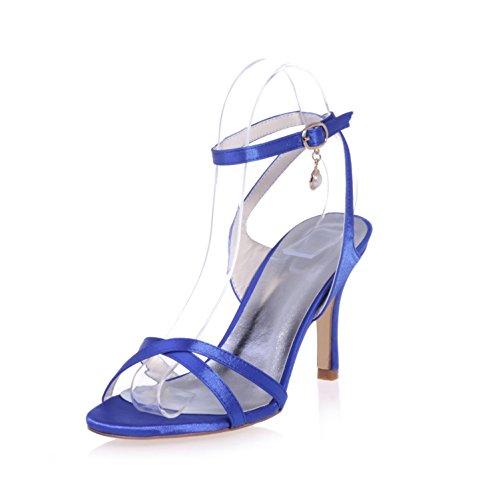 L@YC 9920-02 Sandalias De TacóN alto Para Mujer Colgante SatéN / Fiesta Y Noche Zapatos De Boda Peep Toe Night & / Platform Patent Blue