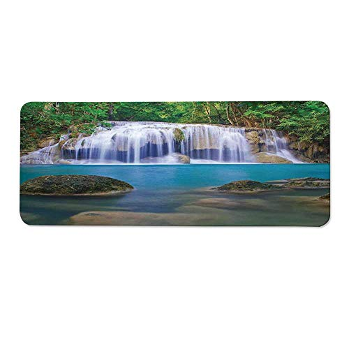 YOLIYANA Waterfall Durable Long Door Mat,Fantastic Falls Flowing Down by Crystal Water Secret Paradise in The Earth Print for Home Office,One Size