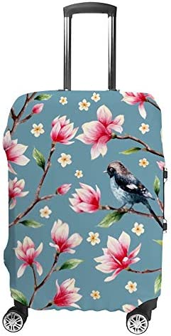 スーツケースカバー 伸縮素材 トランク カバー 洗える 汚れ防止 キズ保護 盗難防止 キャリーカバー おしゃれ モクレンと桜と鳥 ポリエステル 海外旅行 見つけやすい 着脱簡単 1枚入り