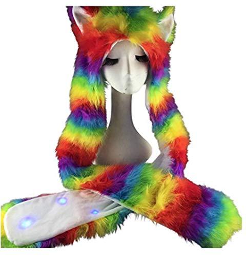Light Up LED Rave Spirit Animal Fluffy Fur Hat Hood (Rainbow) -