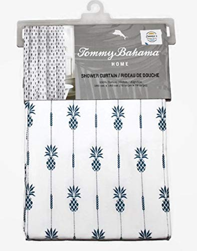 Tommy Bahama Pin Striped Navy Blue Pineapples in White 100% Cotton Twill Shower Curtain | 72 X 72 in