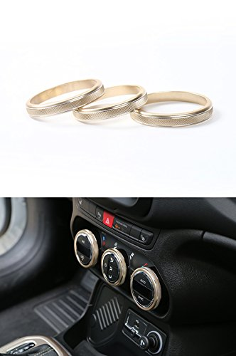 FMtoppeak 3 Pcs Gold Interior Accessories Aluminum Speaker Radio Ring Outlet Air Condition Turn Switch Trim Cover For Jeep Renegade 2014 UP