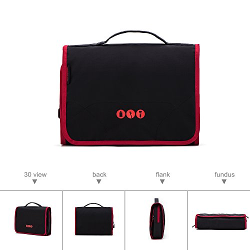 BAGSMART Hanging Travel Toiletry Bag Carry-on Makeup Organizer Folding Cosmetic Bag for Women and Men, Black + Red by BAGSMART (Image #3)