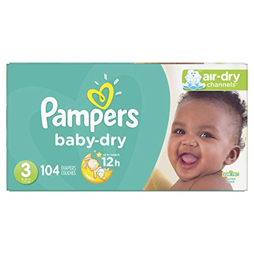 Pañales tamaño 3, 104 unidades – Pampers Baby Dry desechables pañales, Super Pack