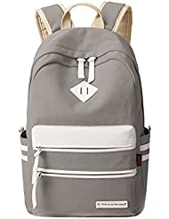 Ecokaki Canvas Shoulder Bag Book Bag School, Travel Backpack for Teens, Gray