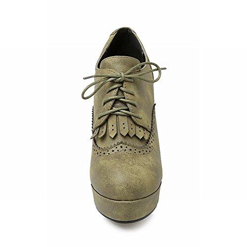 Carolbar Kvinna Retro Spets-up Vintage Plattform Hög Klack Boots Grönt