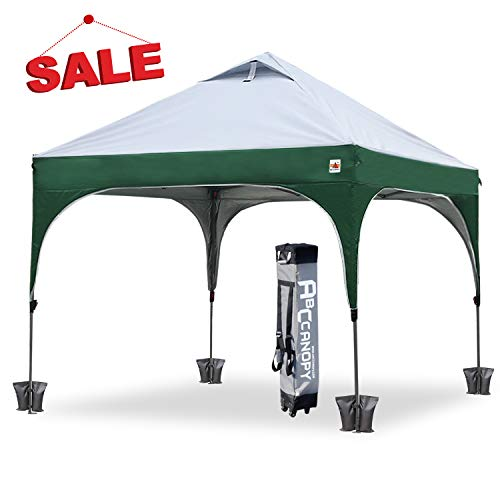 ABCCANOPY Pop Up Tent Commercial Canopy 10' x 10' Better Air Circulation Canopy Gazebo with Wheeled Carry Bag+4 x Sandbags, 4 x Ropes& 4 x Stakes Bonus 4 Weight Bags, - Green Gazebo Party Garden