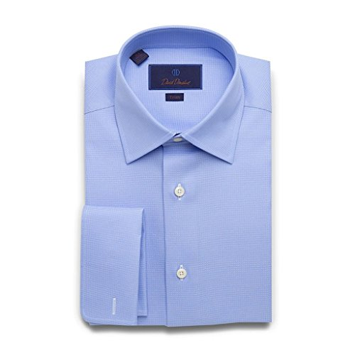 Cotton Weave Birdseye (David Donahue Men's Trim Fit Micro Birdseye French Cuff Dress Shirt, Blue, 16.5