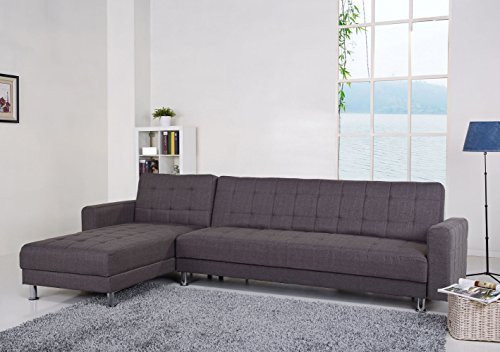 Gold Sparrow Frankfort Convertible Sectional Sofa Bed, Gray