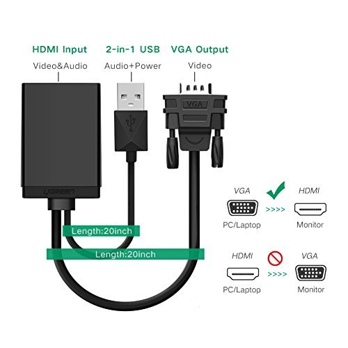 UGREEN VGA to HDMI Adapter Converter with Audio Supports 1080P for Connecting PC, Laptop, Notebook to HDTV, Displays, Monitor (Black)