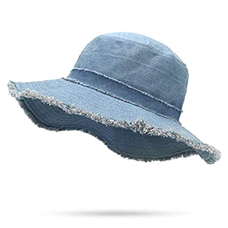 72352b909b4 Image Unavailable. Image not available for. Color  DHmart Girl Wide Brim  Bucket Hat Casual Washed Cowboy Solid Navy Flat Top Fishman Panama Cap