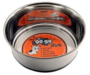 GoGo Pet Products Stainless Steel Weighted No Skid Pet Dog Bowl, 1-Pint