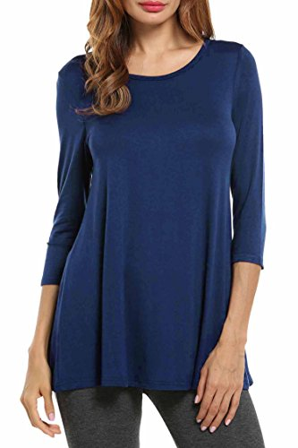 HOTOUCH Women Comfy Loose Fit Long Flowy Tunic Top with 3/4 Sleeve(Navy Blue, M)