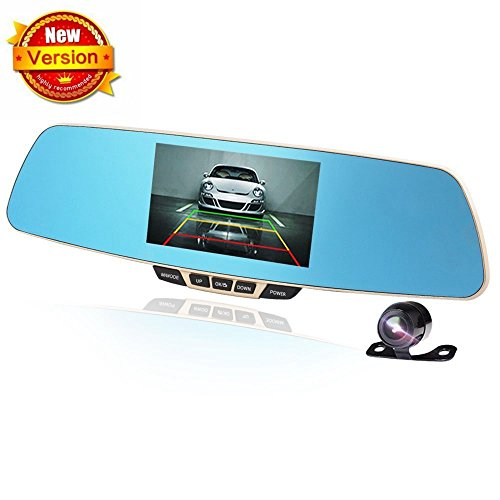 Car Rear View Camera, Dual-lens Vehicle AUTO Cameras Mirror, Dash Cam Front and Rear DVR Full HD 1080P 170¡Wide