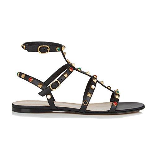 (MERUMOTE Women's Rivets Studs Strap Flats Summer Daily Buckle Flat Sandals178-Black Stud 8.5)