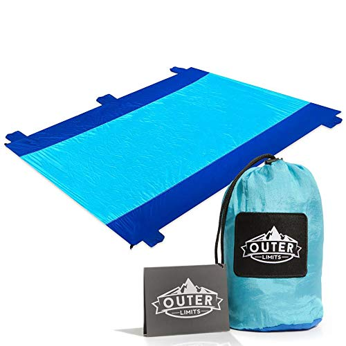 Outer Limits NEW Huge Travel - Picnic Blanket - Beach Blanket Compact Water Resistant Sand Free 7'x9' Oversized Nylon Outdoor Blankets with 4 Stakes Lightweight Portable Camping Blanket