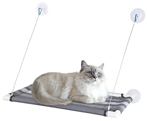 "Premium Cat Window Perch w Tear-Proof Fabric & Super-Strong Giant Suction Cups – Portable Cat Seat/Hammock Bed for Large Cats 60lbs, 26"" x 15"" – Comes w Full Owner's (Adjustable Plastic Perch)"