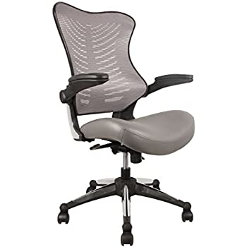 office factor executive ergonomic office chair gray back mesh bonded leather seat flip up armrest molded seat with a 55kg foam density double handle