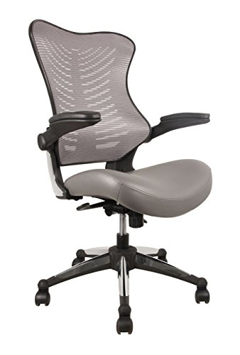 OFFICE FACTOR Executive Ergonomic Office Chair Gray Back Mesh Bonded Leather Seat Flip up Armrest Molded Seat with a 55kg Foam Density Double Handle Mechanism You Can Lock the Back (Back Molded Foam Task Chair)