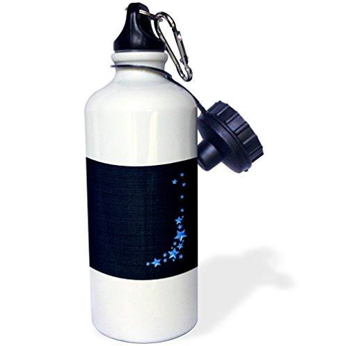 "3dRose wb_108381_1 ""Falling Stars, Bright Blue on Maroon"" Sports Water Bottle, 21 oz, White"