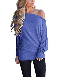 Women's Off Shoulder Loose Pullover Sweater Batwing Sleeve Knit Jumper Oversized Tunics Top