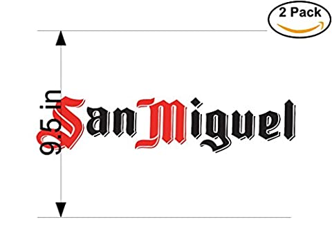 San Miguel 3 Beer Logo Alcohol 2 Vinyl Stickers Decal Bumper Window Bar Wall 9.5 Inches (San Miguel Salt)