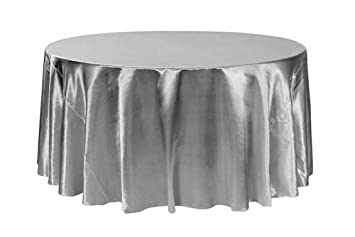 Your Chair Covers   120 Inch Round Satin Tablecloths Dark Silver, Platinum Round  Table Linens