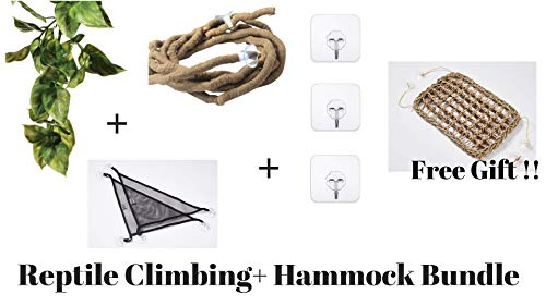 Bearded Dragon and Iguana Cage Kit: Bearded Dragon Hammock,Reptile Vines, leaves and Heavy duty hooks.These Bearded Dragon Accessories are perfect as Reptile Tank Decor. Works as a Lizard Hammock too (Best Tank For Bearded Dragon)