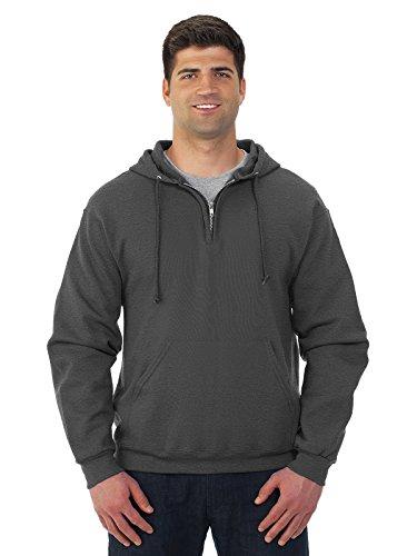 Jerzees 994 Adult NuBlend 1 By 4-Zip Hooded Sweatshirt - Black Heather, (1 Adult Hooded Sweatshirt)