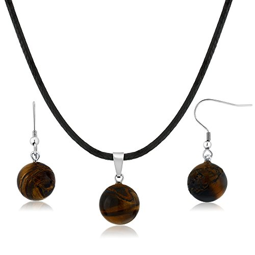 (Gem Stone King Beautiful Round Tigers Eye Necklace Set with Matching Tigers Eye Stone Earrings)