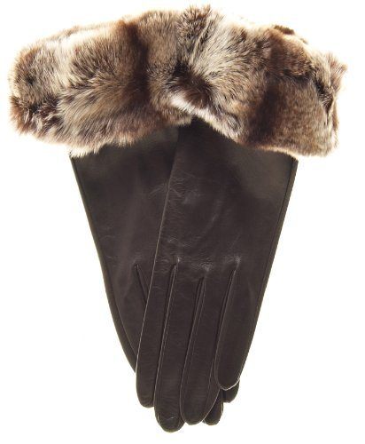 Fratelli Orsini Women's Orylag Rabbit Fur Cuff Cashmere Lined Leather Gloves Size 8 Color Brown by Fratelli Orsini