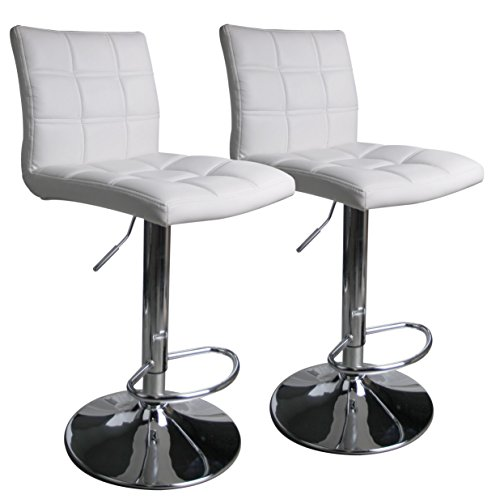 Leopard Square Back Adjustable Swivel Bar Stools ,PU Leather Padded with Back, Set of 2 (White)