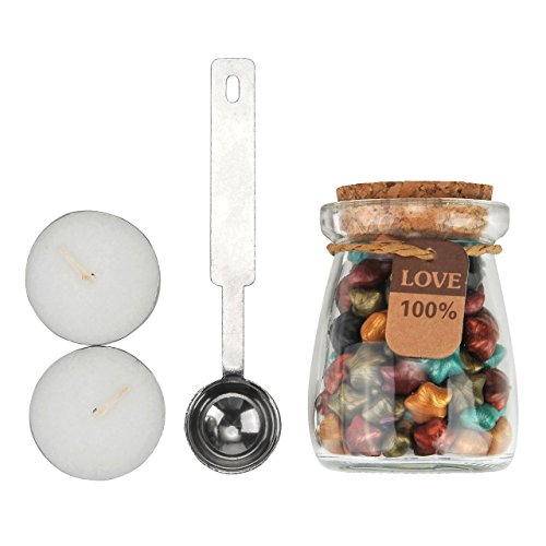 6 Colors Wax Beads(120 pcs),Star Shape Bottled Sealing Wax Beads with Melting Spoon & White Candle for Wax Seal Stamp