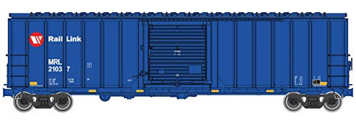 50' ACF EXTERIOR-POST BOXCAR - READY TO RUN -- MONTANA RAIL LINK 21037 (BLUE, RED, WHITE, RED CIRCLE LOGO) ()