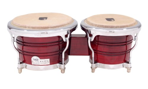 Toca Elite Pro Wood Bongos Crimson Maple Fade by Toca