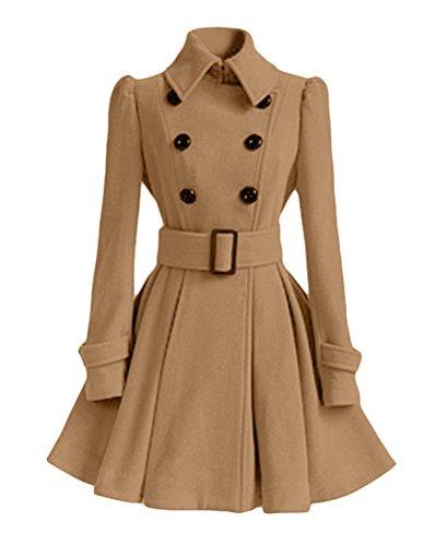 Coat Slim Mujer Outwear Vintage Abrigo Larga Doble DianShao Chaqueta Pecho Caqui Elegante Trench wpTRRxSU