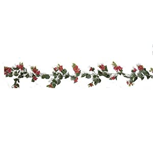 Outdoor Artificial Bougainvillea Vines - 9.5' Garland - Red Flowers 7